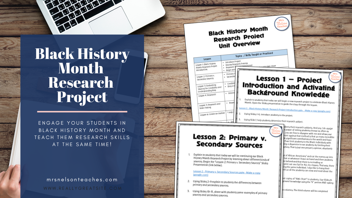 Black History Month Research Project Middle School